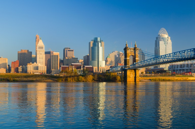 Cincinnati Skyline, Bridge, and River in the Morning